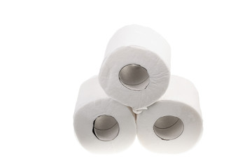 Three lying rolls of toilet paper