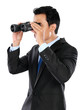 Portrait of businessman holding binocular