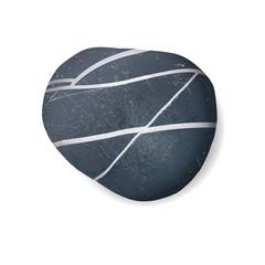 black striped pebble on white background