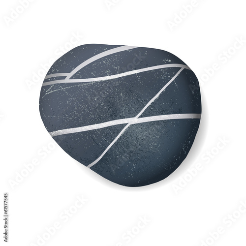 black striped pebble on white background