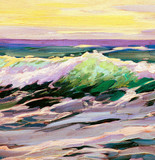 sea landscape with wave, painting by oil on canvas, illustration