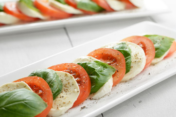 Classic caprese with mozzarella