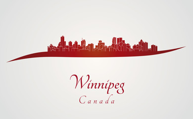 Winnipeg skyline in red