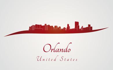 Orlando skyline in red