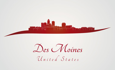 Des Moines skyline in red