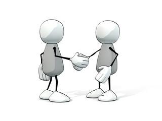little sketchy men shaking hands