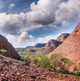 Red Rocks of Australian Outback in winter season