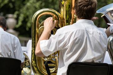 Musician playing tuba