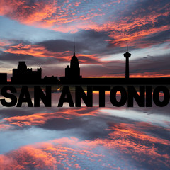 San Antonio skyline reflected with text sunset illustration