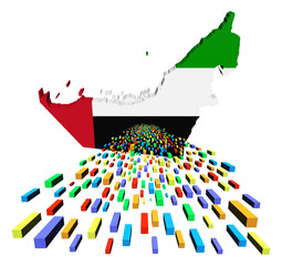 UAE map flag with containers illustration