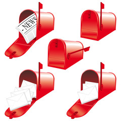 Red american mailboxes set.