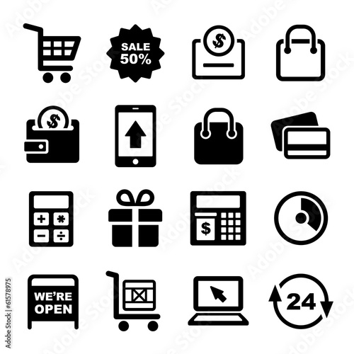 Shopping and Supermarket Services Icons Set