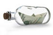 Dollars inside message bottle