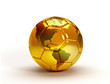 canvas print picture - gold soccer ball with world map