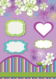 Design element for template.Spring flowers , line ,strips,labels