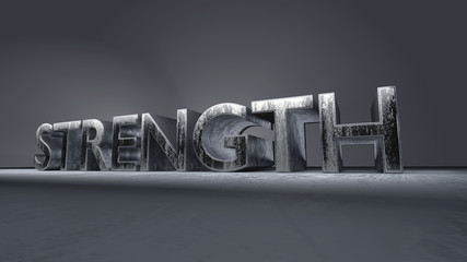 metallic typography of the word Strength
