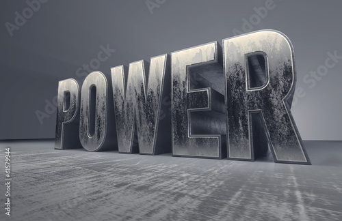 metallic typography of the word Power