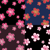 Outline Cherry Flowers background in dark colours.Spring Seamles