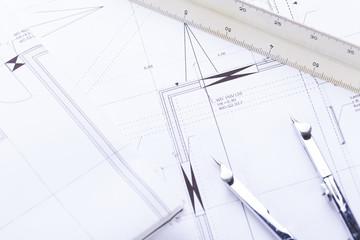 Architektonische Baupläne und Arbeitsmaterial für Architekten