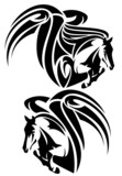 winged horses emblem - black and white tribal style pegasus