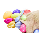 pile of colorful easter eggs in pouch
