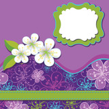 Spring Design template.Cherry flowers background