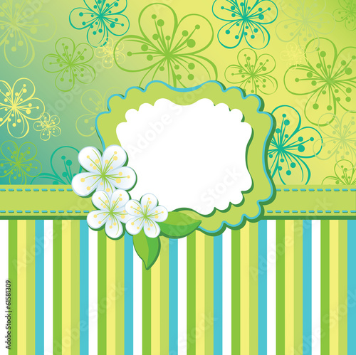 Spring flowers background and strips. Design template
