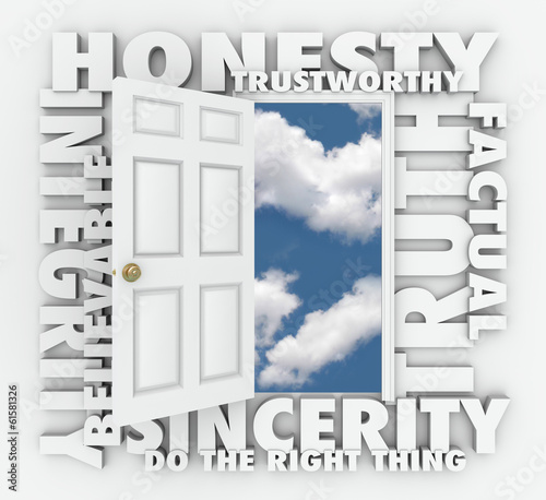 Honesty Truth Integrity Reputation 3D Word Door