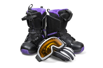 Snowboard boots with gloves and goggles - clipping path.