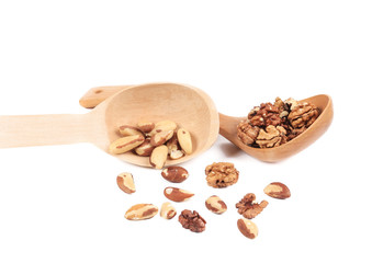 Spoon with walnuts and brazil nuts.
