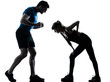 aerobics intstructor  with mature woman exercising silhouette