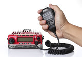 Red Mobile Radio transceiver on White background