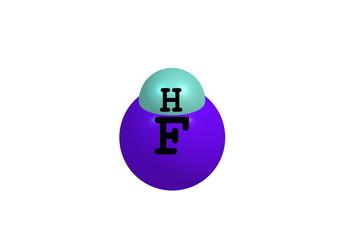 Hydrogen fluoride molecular structure on white background
