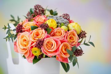 Closeup of delicate flower bouquet in the bucket