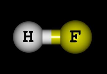Hydrogen fluoride molecular structure on black background