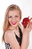 Beautiful Healthy Woman Eats an Apple