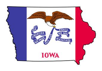 State of Iowa grunge flag map