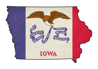 State of Iowa grunge flag map