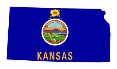 State of Kansas flag map