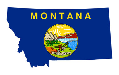 State of Montana flag map