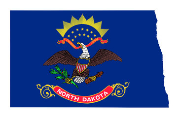 State of North Dakota flag map