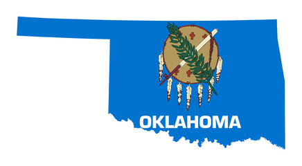 State of Oklahoma flag map