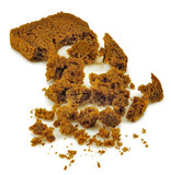 Isolated image of crumbled bread on white background