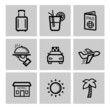 vector black vacation travel icon set