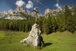 Cross on mountain, Dolomites Italy.