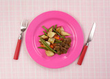Beef Meal Pink Plate Plaid Tablecloth