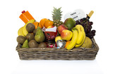 fruit basket with wine drink orange banan and others
