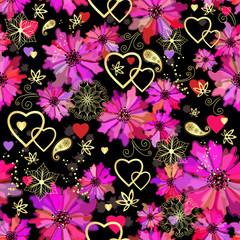 Valentine seamless dark floral pattern