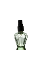 Green Perfume Bottle isolated.