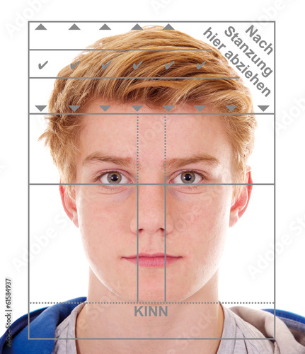 Teenager, biometrisches Passfoto